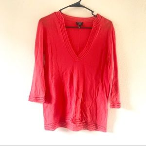 4/$25 Talbots Pima Cotton Orange V-Neck Sweater